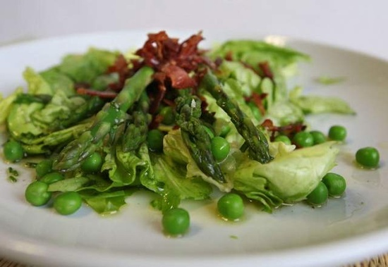 Asparagus with Peas and Crisp Prosciutto