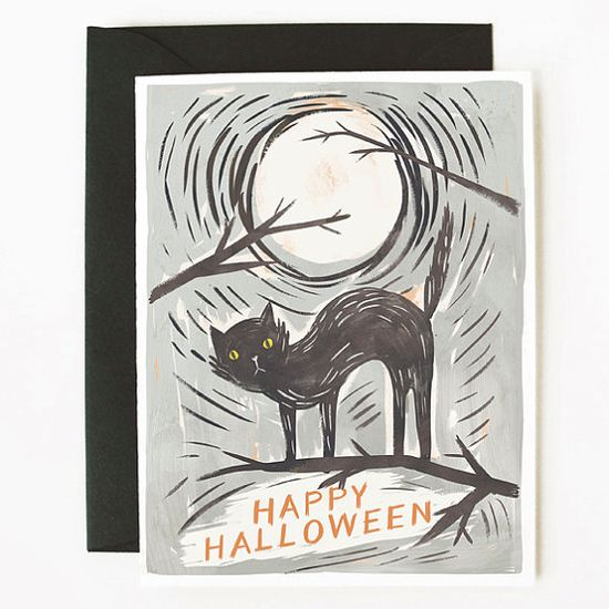 Black Cat Halloween Card 1pc by QuillandFox on Etsy, $4.50