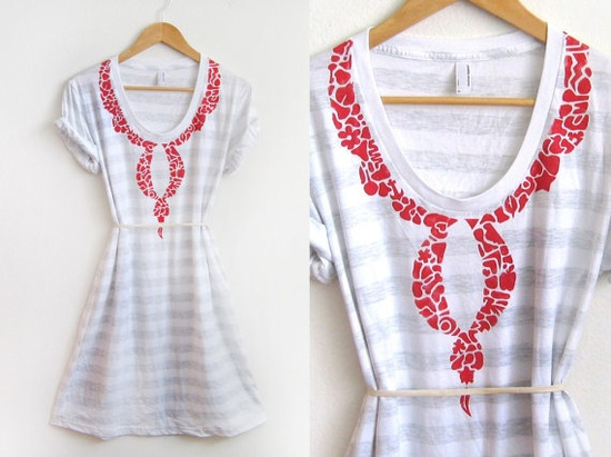 Eclectic Collage HAND STENCILED Necklace Scoop by twostringjane, $42.00 >> so cute for summer and great for traveling!