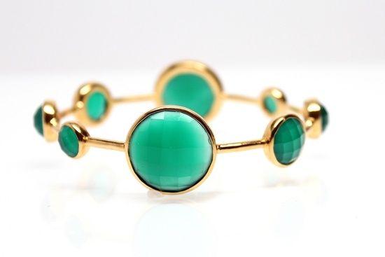 Gold Vermeil Emerald Green Onyx