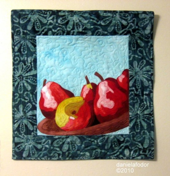 Art quilt  Still Life with Pears and Apple by cecillecreations, $52.00