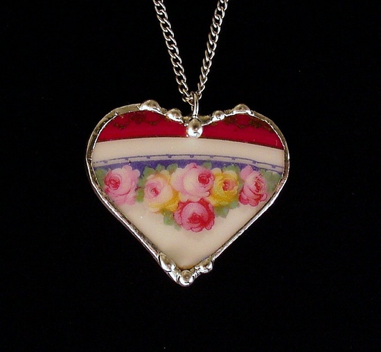 Hand soldered heart pendant made from a broken antique porcelain plate.