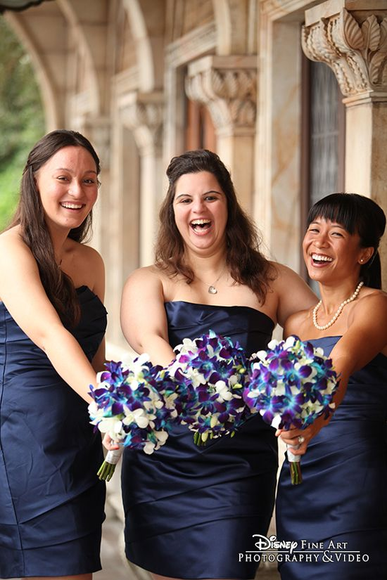 These three beautiful bridesmaids are simply overflowing with joy #Disney #wedding #photography #bridesmaids #blue