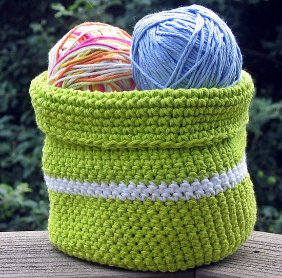 Handmade Crochet Basket Bowl  Lime Green by HandmadeByAnnabelle
