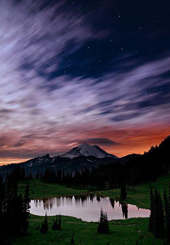 Tipsoo By Moonlight - Tipsoo Lake, Mount Ranier, Washington
