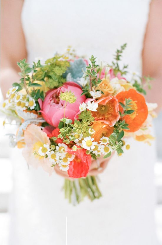 multi colour bridal bouquet - orange pink and green with tiny daisies. how perfect!