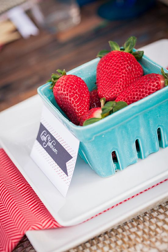 strawberry themed place cards
