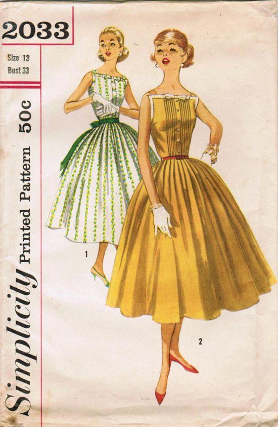 Vintage 1950s dress sewing pattern