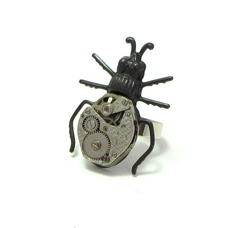 Buggy Noir Steampunk Ring Vintage Watch Movement by mysticpieces, $48.00