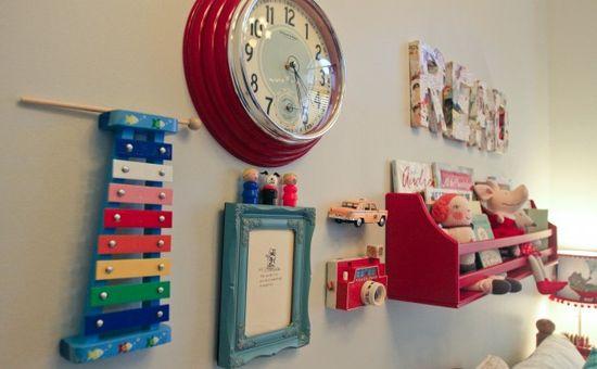 vintage toys on wall