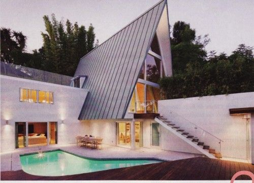 A-frame exterior with pool.