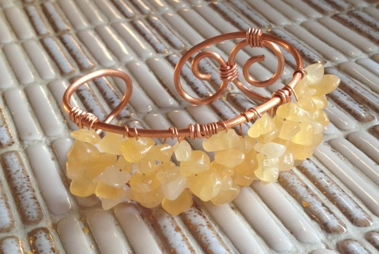 Yellow Aragonite Stone Beaded Copper Wire Cuff Bracelet. $13.00, via Etsy.