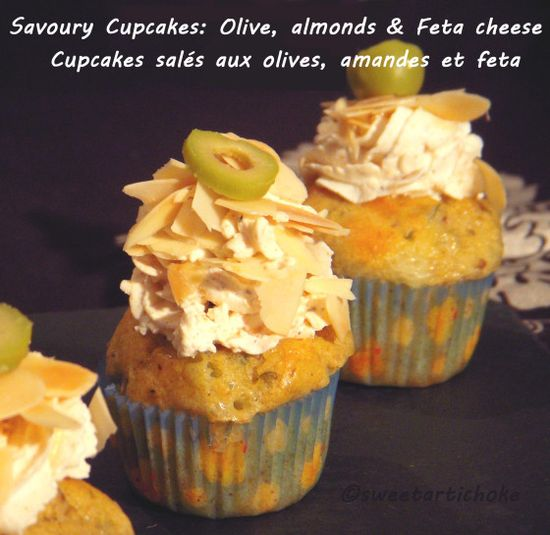 Savory cupcakes: Olive, Feta, & Almonds