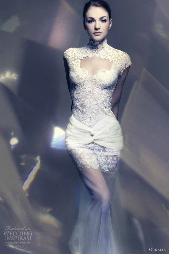 orkalia 2013 bridal couture lace wedding dress cap sleeves
