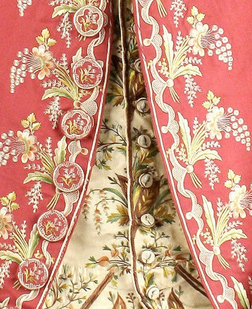 Waistcoat and Frockcoat detail of suit, 1775-80, British, silk