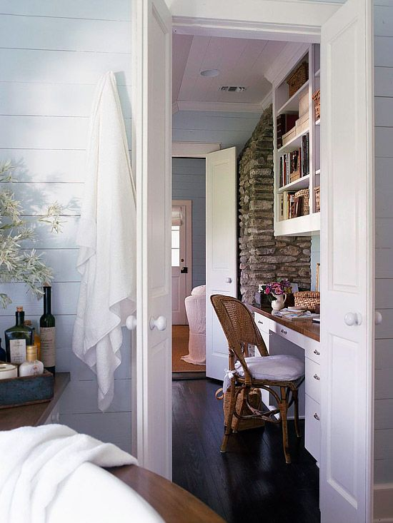 cottage hallway workspace.  planking + stone + walnut + white