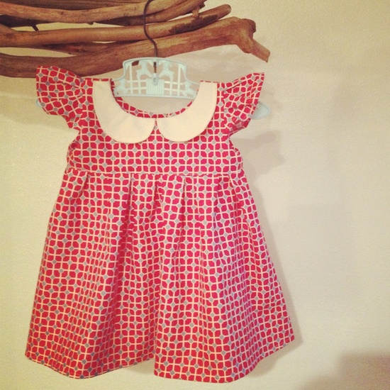 Peter pan collar Baby Girl Dress -vintage inspired design.