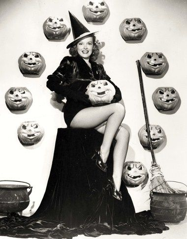 A gorgeously sweet and spooky pin-up girl witch from 1945. #pumpkins #pinup #girl #woman #witch #costume #vintage #retro #Halloween