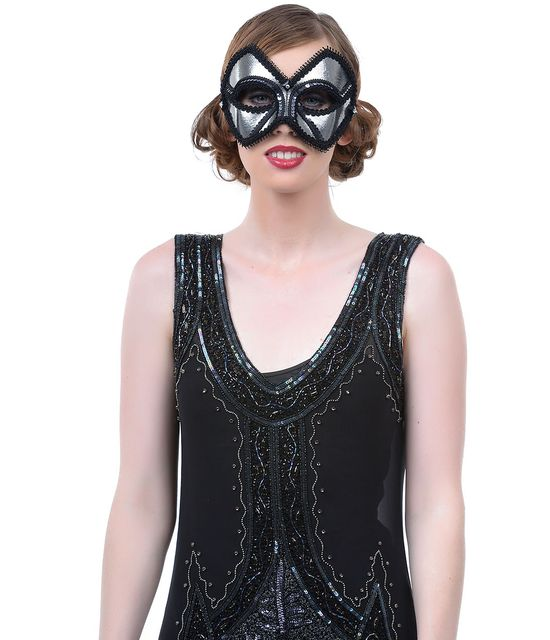 Handmade Silver Midnight Alexis Masquerade Companion Mask #uniquevintage