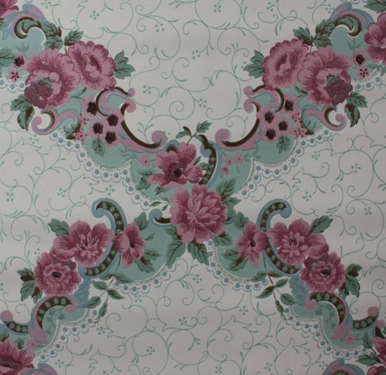 1940's Vintage Wallpaper Victorian Rose Design