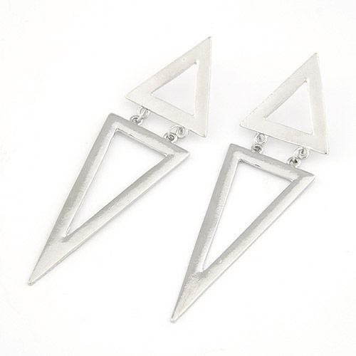 Silver Color Double Triangle Stud Earrings