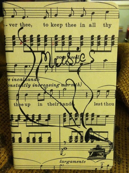 Handmade cut paper Journal. Music.