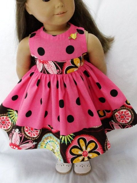 Pink Polka Dot Dress for American Girl Dolls. Sold on Etsy.