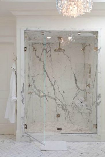 Marble shower - How they matched the veins in the marble - amazing.