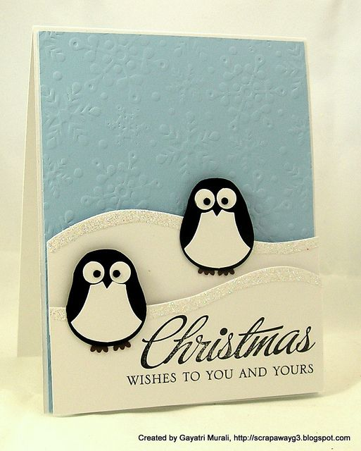 Adorable Penguins made out of the Stampin' Up! Owl punch