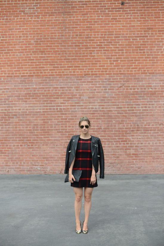 leather + plaid