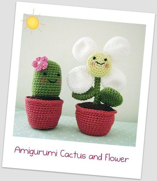 Amigurumi Cactus and Flower Crochet Pattern by curlsofsunshine, $5.00