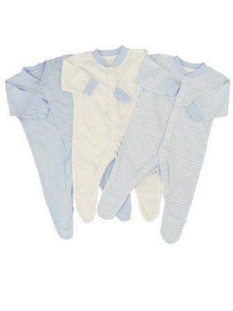 3 Pack Baby Boys Sleepsuits by Pitter Patter