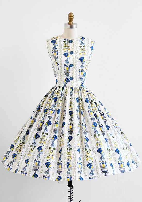 vintage 1950s Egyptian novelty print party dress