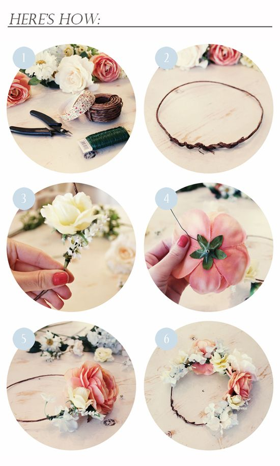 DIY flower crown, fake flowers or real. i would totally do that.