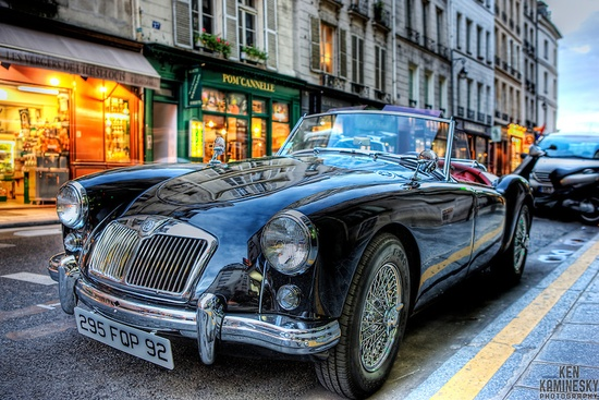 Old British classic MG car in paris