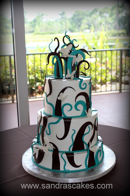 Swirls and butterflies wedding cake  WITHOUT THE BUTTERFLIES
