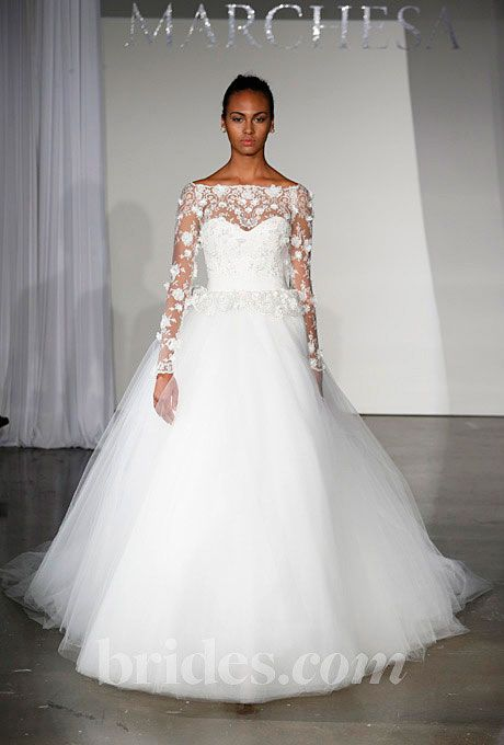 Brides.com: Fall 2013 Wedding Dress Trends. Wedding Dress with Long Sleeves: Marchesa. Lace ballgown by Marchesa  See more Marchesa wedding dresses in our gallery.