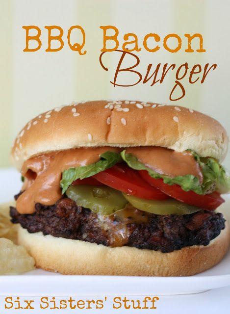 BBQ Bacon Burgers from SixSistersStuff.com- bacon IN the burger?! Brilliant!