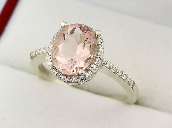 Natural Facet Cut Morganite Solid 14K White Gold Diamond engagement Ring.