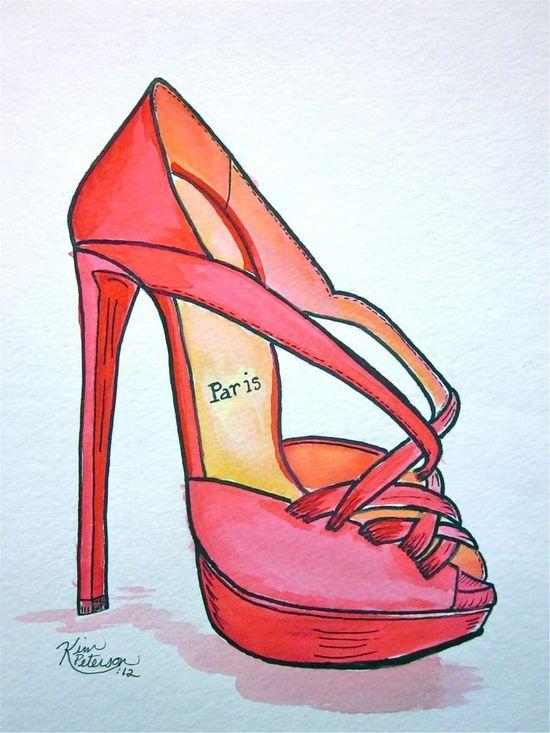 Fashion illustration:   Louboutin sketch original shoe art.