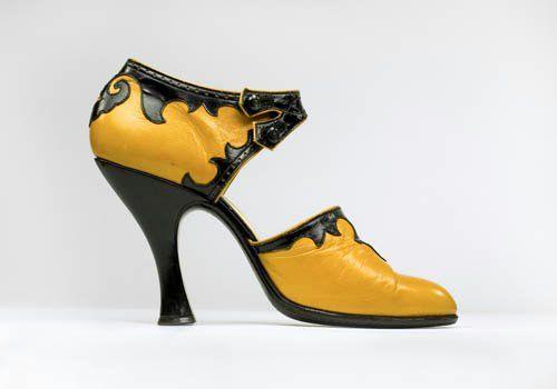 1930s deco leather shoes, Bata Shoe Museum