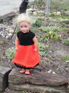 "Frilly Edged 18"" Ladybug Doll Dress"