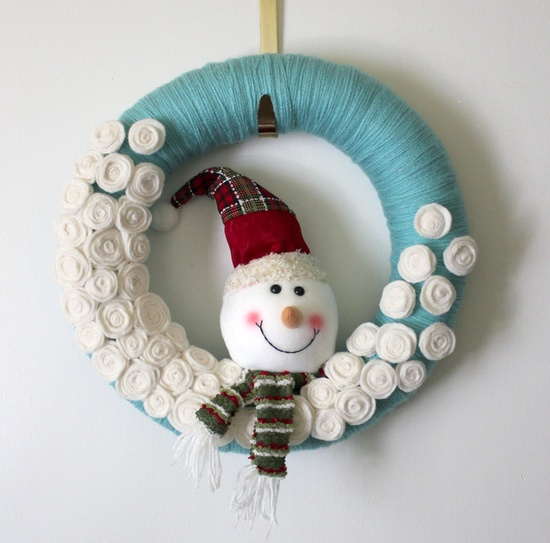 Aqua Snowman Wreath,