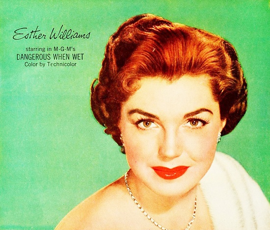 Esther William for Lustre-Creme Shampoo, 1953. #vintage #1950s #hair #ads