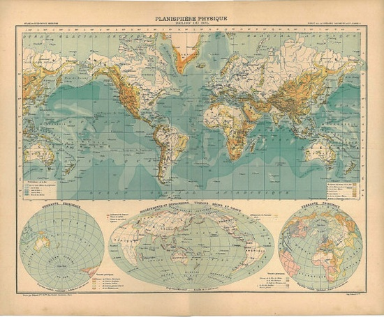 World map, 1899, published in France