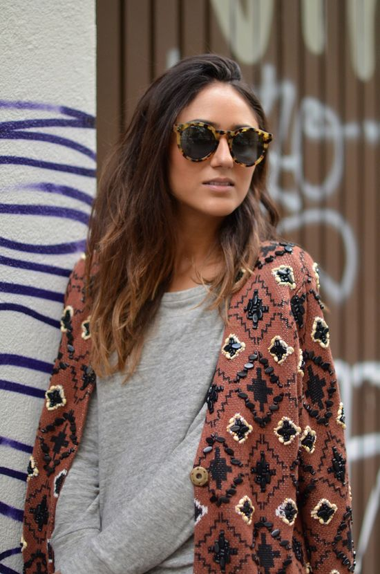 Embroidered print cardigan..