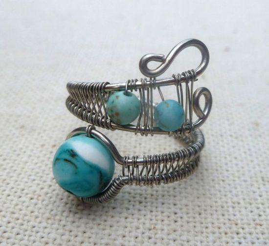 Boho ring / Adjustable Wire Wrapped Ring / wire wrapped jewelry handmade / silver wire / boho jewelry / turquoise magnesite / wire jewelry
