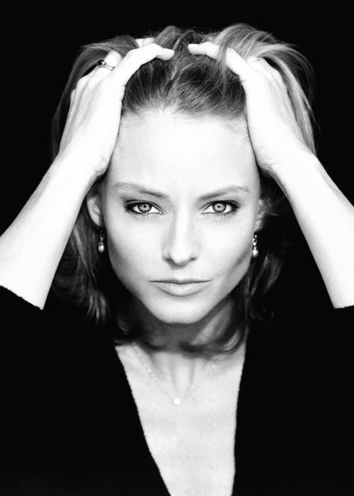Jodie Foster #celebrities #famous #hollywood #star #black #white