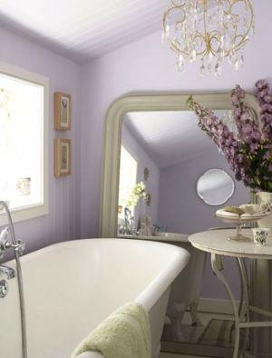 Lavender bathroom.