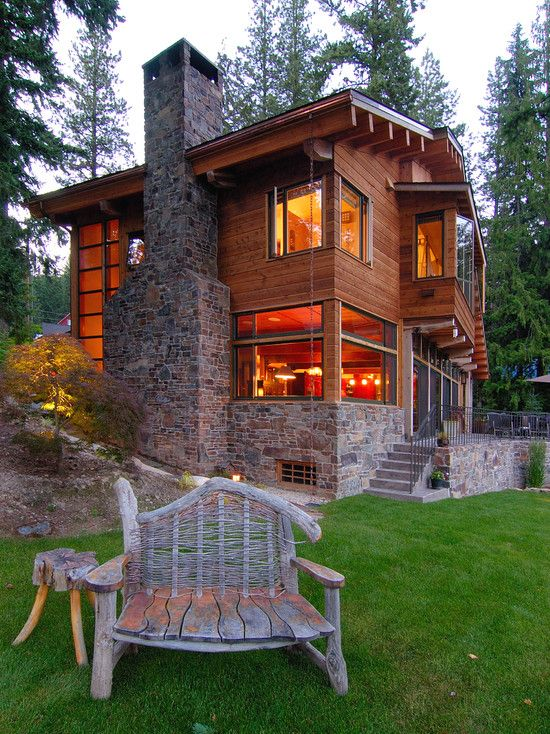 modern + rustic...like the stone and wood together.
